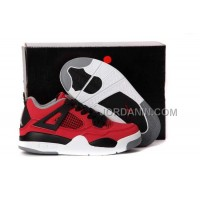 For Sale Nike Air Jordan 4 Kids Fire Red White Black Grey Shoes