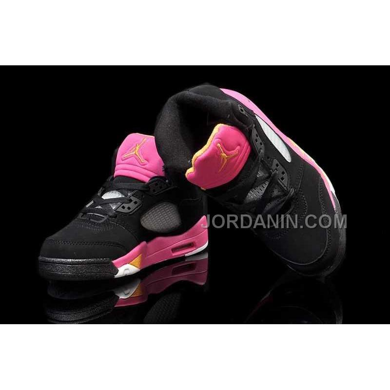 premium selection 20ed9 37084 ... For Sale Nike Air Jordan 5 Kids Black Bright Citrus Fusion Pink Shoes  ...