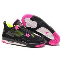 Girls Air Jordan 4 Retro Black Suede Light Green Pink For Sale New