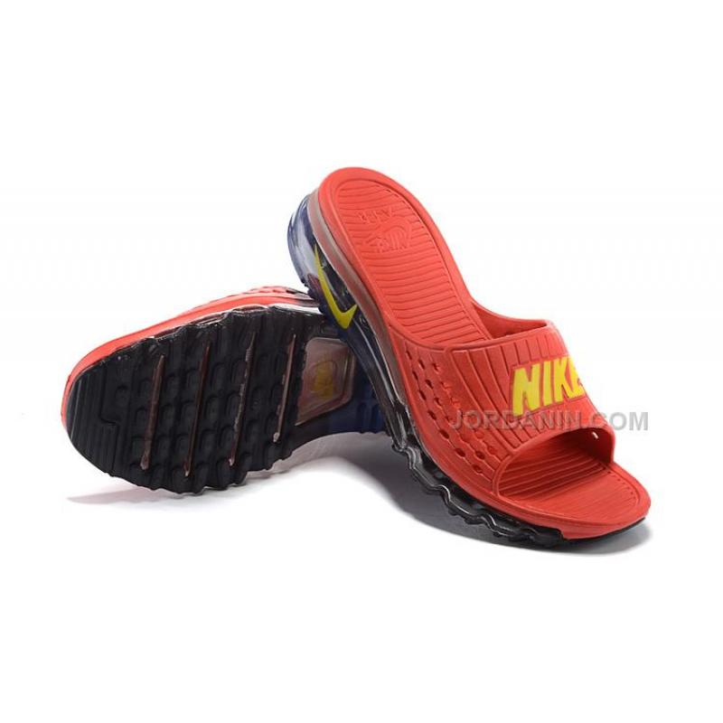 hot sale online 99974 64672 Cheap Nike Air Max 2015 Slide Slippers Red Black For Sale