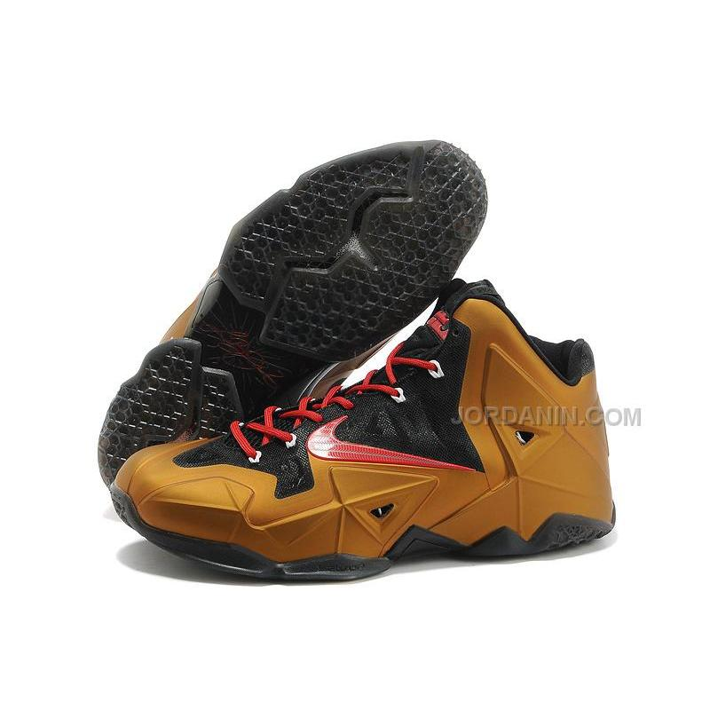 nike lebron james 11 metal goldblack red for sale free