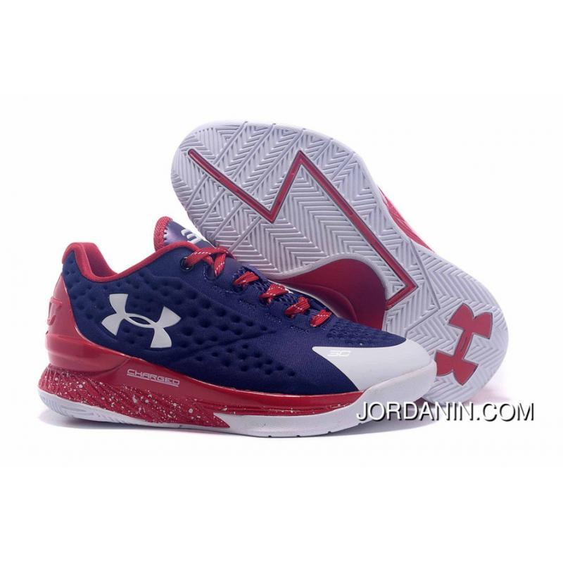 Under Armour Curry One Low Women Dark Blue Red White Sneaker Lastest ... 9b696d35796c