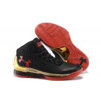 New Under Armour UA Curry One Black Gold Red Shoes For Sale
