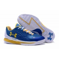 Hot Womens Under Armour Curry One Low Royal Blue Yellow White