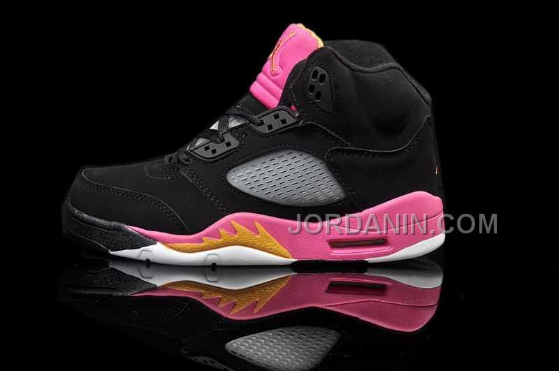 buy popular b574a 4a777 For Sale Nike Air Jordan 5 Kids Black Bright Citrus Fusion Pink Shoes