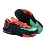 "Girls Nike KD 6 ""Texas"" Black/Green Glow-Urban Orange For Sale Free Shipping"