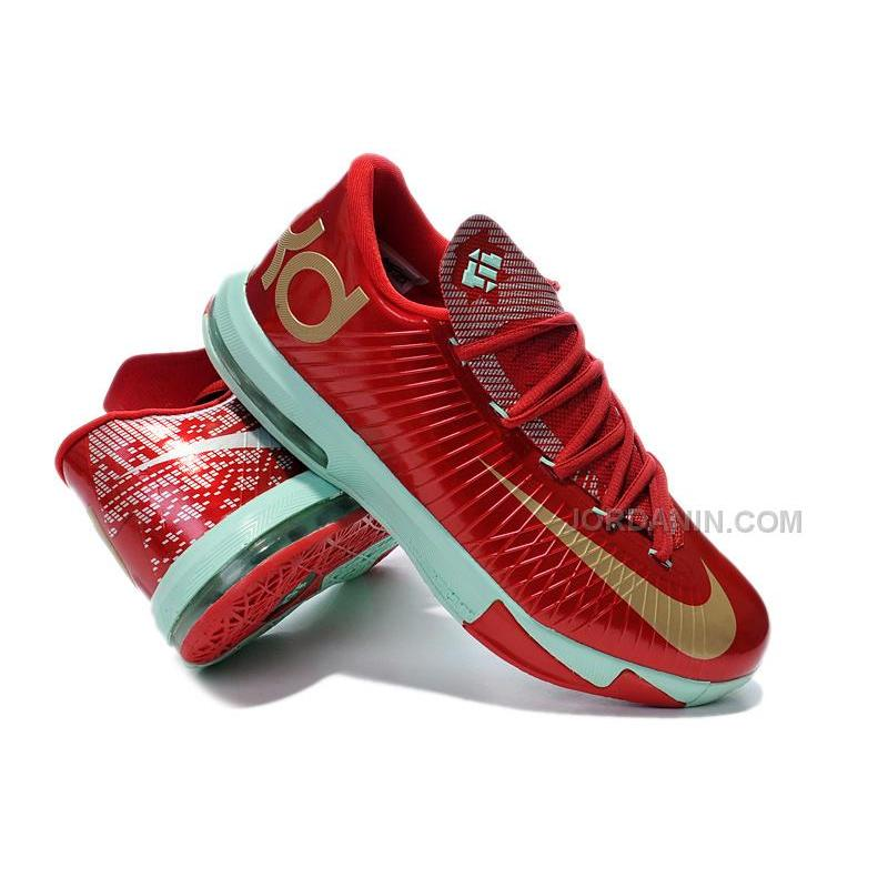"Girls Nike KD 6 ""Christmas"" Light Crimson/Metallic Gold-Green Glow ..."