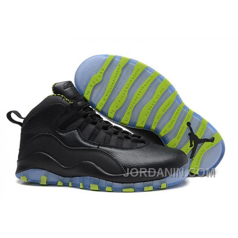 0b3c4c4da6d Air Jordans 10 Retro Black-Grey/Venom Green For Sale, Price: $92.00 ...