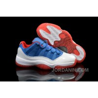 "Air Jordans 11 Low ""Knicks"" White Blue Red Shoes For Sale"