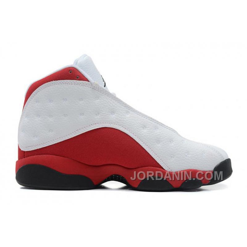 new product classic fit clearance prices Air Jordans 13 Retro White/Black-Varsity Red For Sale