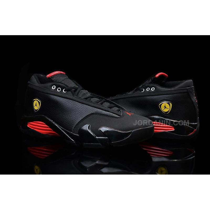 a61ed9bf52d4 ... Air Jordan 14 Retro Low Black Leather Gym Red For Sale ...