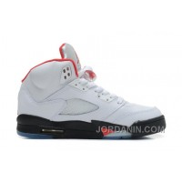 Air Jordans 5 Retro White/Black-Fire Red For Sale