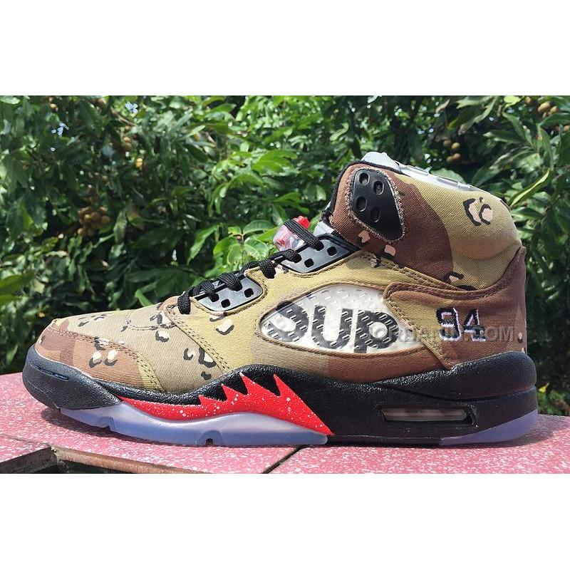 "online retailer 7d735 d482d USD  88.00. Supreme x Air Jordan 5 ""Camo"" Desert Camo Fire Red-Black ..."