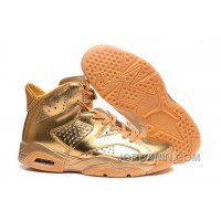 2016 New Air Jordan 6 All Gold Custom Shoes Free Shipping
