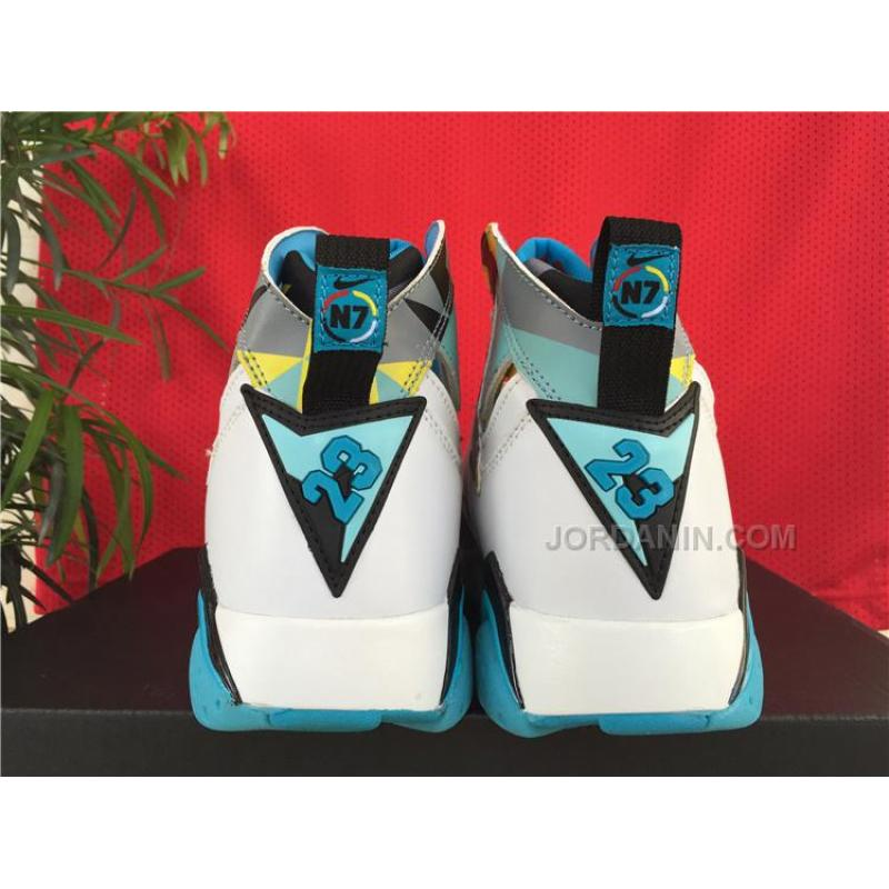 "2138894c7f38 Cheap New Air Jordan 7 ""N7″ White Dark Turquoise-Black-Ice Cube Blue ..."