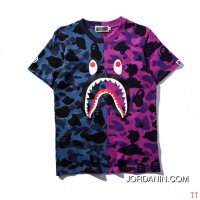 2016.04.12 BAPE T Shirt Mix Color Blue And Rose Red For Sale