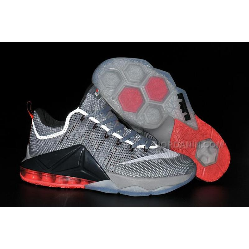 2c8bdd90a60ce5 Nike LeBron 12 Low Wolf Grey White-Dark Grey-Hot Lava For Sale ...