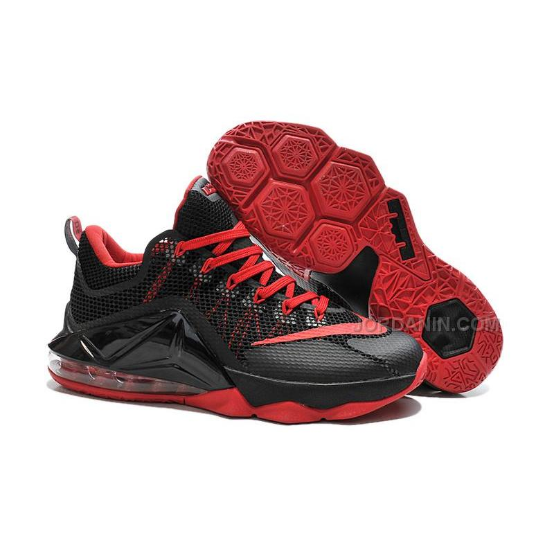 finest selection 69ce3 b54c1 USD  80.00. Nike LeBron 12 Low Black Varsity Red ...