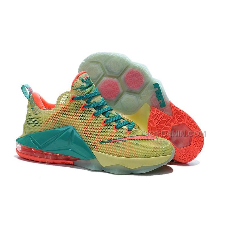 "sale retailer 06892 ccb59 Nike LeBron 12 Low ""LeBronold Palmer"" White/Lime-Bright Mango For Sale"