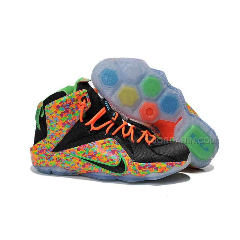 "low priced b8c0f c2172 Cheap Nike LeBron 12 ""Fruity Pebbles"" Black/Multi-Color Mens For Sale"