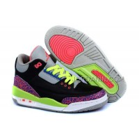 For Sale Nike Air Jordan 3 Kids 2014 Black Grey Pink Green Shoes