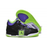For Sale Nike Air Jordan 3 Kids 2014 Black Purple Green Shoes