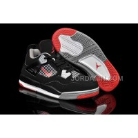 For Sale Nike Air Jordan 4 Kids Black Grey Red Shoes