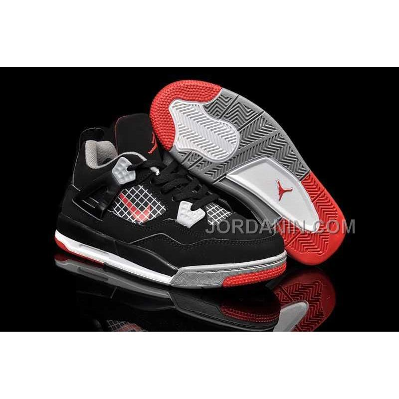 new styles bcf0c 67efc For Sale Nike Air Jordan 4 Kids Black Grey Red Shoes, Price: $85.00 ...