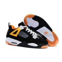 For Sale Nike Air Jordan 4 Kids Black White Orange Shoes