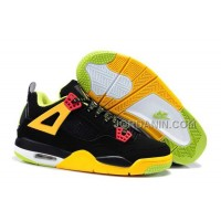 For Sale Nike Air Jordan 4 Kids Black Yellow Green Shoes