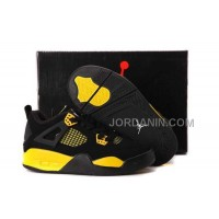 For Sale Nike Air Jordan 4 Kids Black Yellow Shoes
