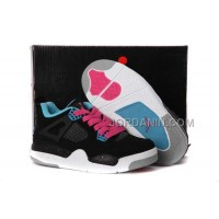 For Sale Nike Air Jordan 4 Kids Dynamic Blue White Black Pink Shoes