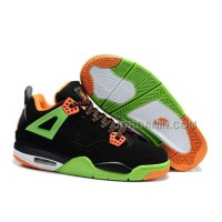 For Sale Nike Air Jordan 4 Kids Orange Green Black Shoes