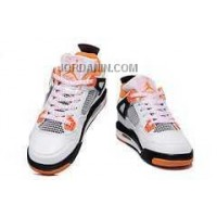 For Sale Nike Air Jordan 4 Kids Orange White Black Shoes