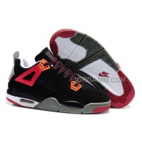 For Sale Nike Air Jordan 4 Kids Red Black Grey Shoes