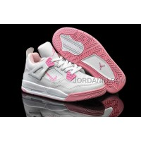 For Sale Nike Air Jordan 4 Kids White Pink Shoes