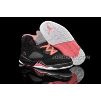 For Sale Nike Air Jordan 5 Kids Black Alarming Red Shoes
