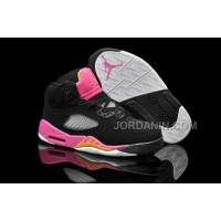 For Sale Nike Air Jordan 5 Kids Black Bright Citrus Fusion Pink Shoes