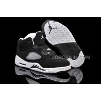 For Sale Nike Air Jordan 5 Kids Black Grey White Shoes