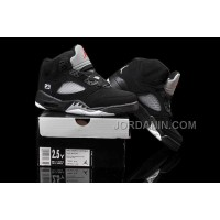 For Sale Nike Air Jordan 5 Kids Black Metallic Silver Shoes