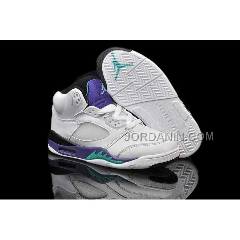best sneakers cc792 c2b43 For Sale Nike Air Jordan 5 Kids White Emerald Green Black Shoes