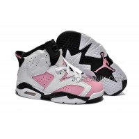 For Sale Nike Air Jordan 6 Kids White Black Pink Shoes