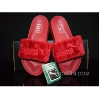 PUMA BY RIHANNA LEADCAT FENTY FUR SLIDE Red Authentic