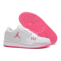 Girls Air Jordan 1 Low White Pink Shoes For Sale
