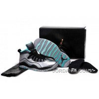 "Girls Air Jordan 10 ""Lady Liberty"" Cement Grey/Black-Tropical Teal Remastered"