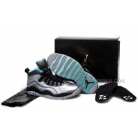 "Girls Air Jordan 10 ""Lady Liberty"" Cement Grey/Black-Tropical Teal Remastered Hot"