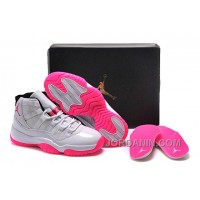 2016 Girls Air Jordan 11 White Pink Shoes For Sale Online