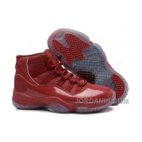 Girls Air Jordan 11 Red-Brown Leather Shoes For Sale