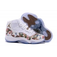 "2016 Girls Air Jordan 11 ""Floral Flower"" White Brown Shoes Hot"