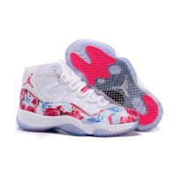 "2016 Girls Air Jordan 11 ""Floral Flower"" White Pink Shoes Hot"